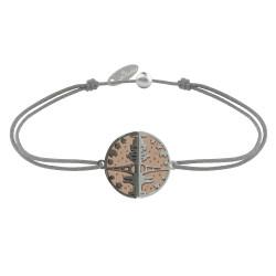 Bracelet Lien Médaille Argent Plaqué Or Rose Ruthénium Paris