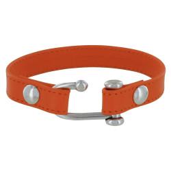 Bracelet Plaqué Argent Manille Ouverte et Cuir Orange