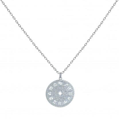 Collier Argent Médaille Ronde Symboles du Zodique