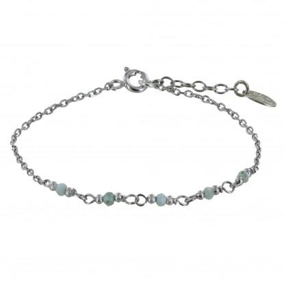 Bracelet Argent Rhodié Cinq Petites Perles de Larimar Facettées