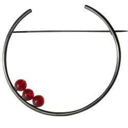 Broche Ruthénium Ronde et Trois Perles de Verre
