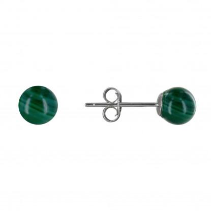 Boucles d'Oreilles Clou Argent Rhodié et Perles de Malachite 6 mm