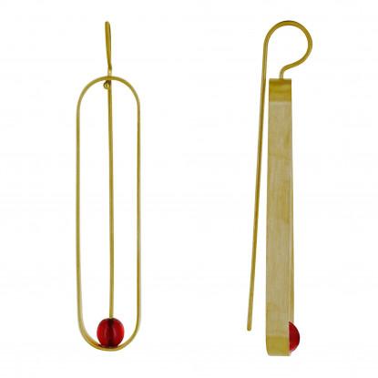 Boucles d'Oreilles Crochet Laiton Ovale et Perle de Verre