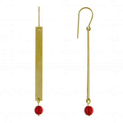 Boucles d'Oreilles Crochet Laiton Rectangle Plat et Perle de Verre