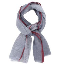 Echarpe 100% Coton Gris Bleu Petites Rayures Blanches et Liseré Rouge