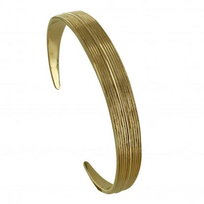 Bracelet Plaqué Or Demi Jonc Feuille