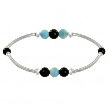 Bracelet Elastique Tubes Argent Rhodié Trois Perles de Larimar 5 Perles d'Onyx Noir Facettée