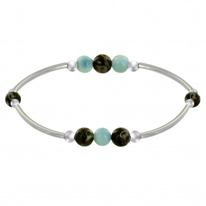 Bracelet Elastique Tubes Argent Rhodié Trois Perles de Larimar 5 Perles d'Agate Turittela