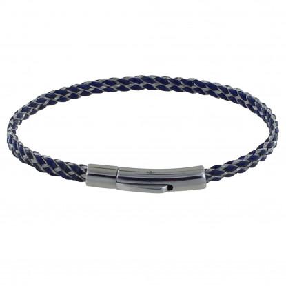 Bracelet Mixte Cuir et Acier Tréssé Plat