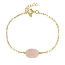 Bracelet Plaqué Or Pierre Ovale de Quartz Rose