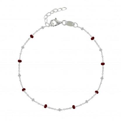 Bracelet Argent Perles Émaillées et Perles Argent