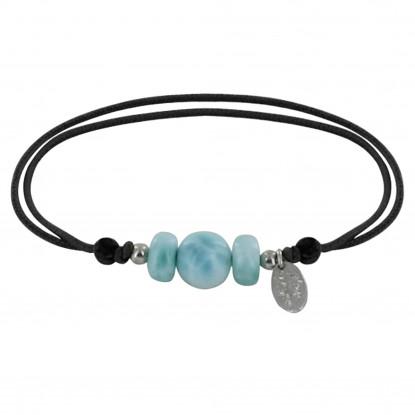 Bracelet Lien Synthétique Une Perle et Deux Anneaux de Larimar