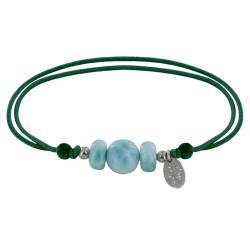 Bracelet Lien Une Perle et Deux Anneaux de Larimar