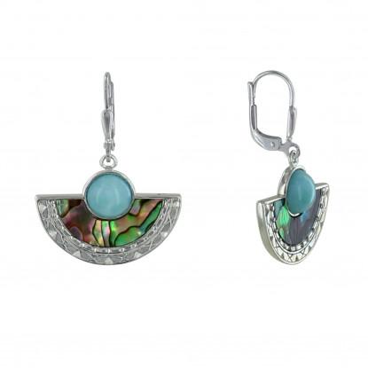 Boucles d'Oreilles Argent Eventail de Nacre Abalone et Perle de Larimar