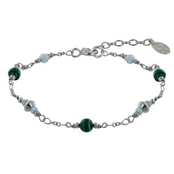 Bracelet Argent Rhodié Trois Perles de Malachite Deux Perles de Larimar Facettées et Quatre Anneaux de Larimar Facettés