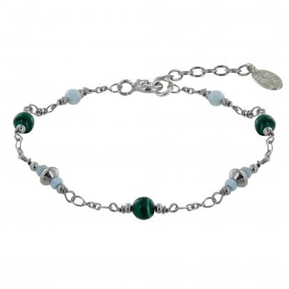 Bracelet Argent Rhodié Trois Perles de Malachite Deux Perles de Larimar Facettéés et Quatre Anneaux de Larimar Facettés