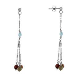 Boucles d'Oreilles Argent Rhodié Trois Perles Jaspe Picasso et Une Perle de Larimar Facettée