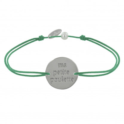 """Bracelet Lien Médaille Plaqué Argent Ronde """"Ma Petite Poulette"""""""