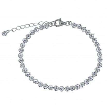 Bracelet Argent Petits Ronds de Strass