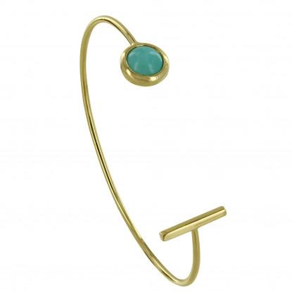 Bracelet Demi Jonc Plaqué Or Barre et Demi Perle d'Amazonite