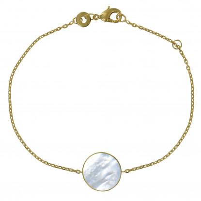 Bracelet Plaqué Or Rond de Nacre Ivoire Lisse