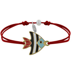 Bracelet Lien Médaille en Laiton Poisson Émaillée Blanche et Noire