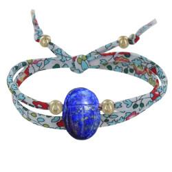 Bracelet Double Tour Lien Liberty Talisman Scarabée Lapis Lazuli et Perles Plaqué Or