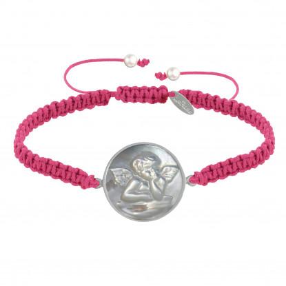 Bracelet Lien Tréssé Médaille de Nacre Ronde Ange Raphaël