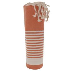 Fouta Drap Plage et Hammam Coton Orange Rayé Blanc 100 x 200cm