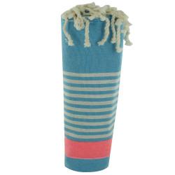 Fouta Drap Plage et Hammam Coton Turquoise Bande Rose Fluo et Petites Rayures Grises Claires 100 x 200cm