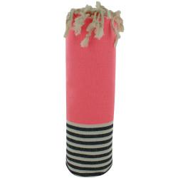Fouta Drap Plage et Hammam Coton Couleur Rose Fluo Rayé Blanc et Bleu 100 x 200cm