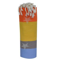 Fouta Drap Plage et Hammam Coton Jacquard Etoile Bleu Gris Jaune Orange 100 x 200cm