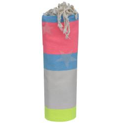 Fouta Drap Plage et Hammam Coton Jacquard Etoile Jaune Fluo Beige Turquoise Rose Fluo 100 x 200cm