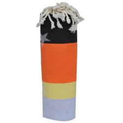 Fouta Drap Plage et Hammam Coton Jacquard Etoile Gris Clair Jaune Orange Noir 100 x 200cm