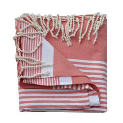 Grand Fouta Drap Plage et Hammam Coton Couleur Rouge Rayé Blanc 150 x 250cm