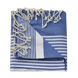 Grand Fouta Drap Plage et Hammam Coton Couleur Bleu Rayé Blanc 150 x 250cm