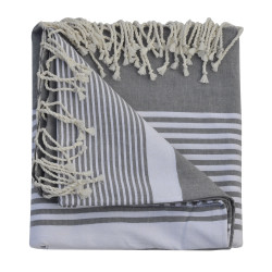 Grand Fouta Drap Plage et Hammam Coton Couleur Gris Rayé Blanc 150 x 250cm