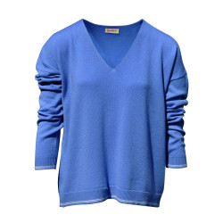 Pull en Cachemire Oversize 2 Rayures - Bleu