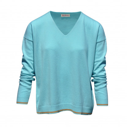 Pull Oversize 2 Rayures - Turquoise