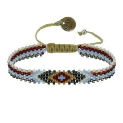 Bracelet Losanges Perles et Lien Tréssé Beige