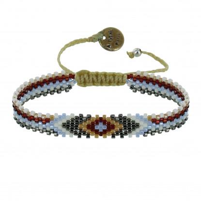 Bracelet NapiKoa Perles et Lien Tréssé Beige
