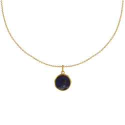 Collier Plaqué Or Médaille Ronde Sodalite