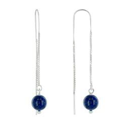 Boucles d'Oreilles Chainette Argent et Perles de Lapis Lazuli