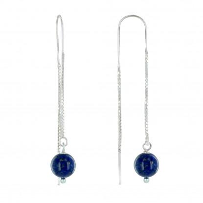 PHOTO Boucles d'Oreilles Chainette Argent et Perles de Lapis Lazuli