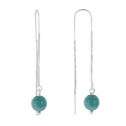 Boucles d'Oreilles Chainette Argent et Perles d'Amazonite
