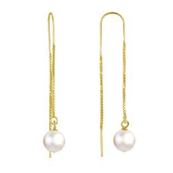 Boucles d'Oreilles Chainette Argent Doré et Perles de Culture