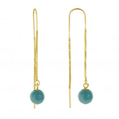 Boucles d'Oreilles Chainette Argent Doré et Perles d'Amazonite