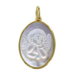 Pendentif Plaqué Or et Nacre Médaille Ovale Ange Raphaël