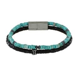 Bracelet Acier Homme Cuir Noir et Anneaux Turquoise