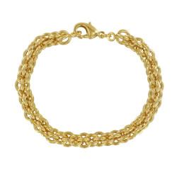 Bracelet Plaqué Or Gourmette Mailles Rondes Circulaires